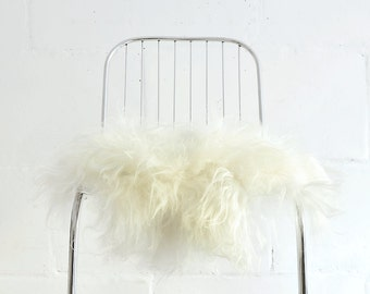 Genuine Icelandic Sheepskin Chair Cover White/ 40 X 40 Centimeters / Sheepskin  Chair Throw White