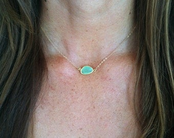 Bezel Set Necklace, Gold Fill Chain, Faceted Stone, Mint Green