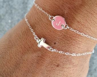 Tiny Sterling Silver Cross Bracelet, Sterling Silver Chain, Cross bracelet
