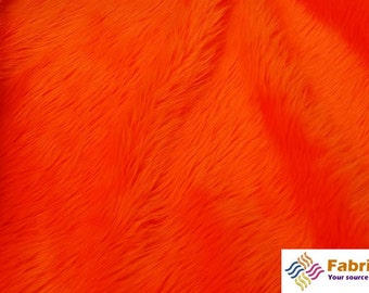 Orange Pile Luxury Shag Faux Fur Fabric by the yard for costumes, coats, vests, home and studio use