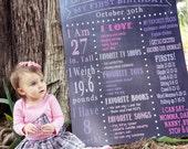 Chalkboard Birthday info poster,  PRINTABLE digital file, modern chalkboard style Sign PHOTO PROP