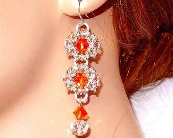 Byzantine romanov chainmaille crystal drop earrings with Swarovski elements, dangle earrings, fiery opal, gift for her, flower earrings