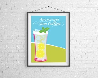 Tom Collins - Tom Collins Print - Cocktail Art - Wall Art Illustration - Cocktail Illustration - Bar Decor - Bar Art - Cocktail Poster