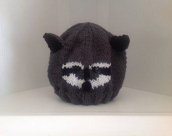 Hand-Knit Raccoon Hat in Grey and White