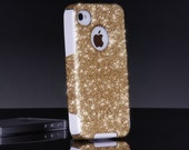 iPhone 4/4S Otterbox Gold Glitter Cute Sparkly Case Commuter Series for Apple iPhone 4/4s