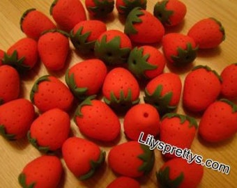 Handmade Polymer Fimo Clay Strawberry Beads