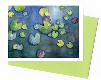 Water Lilly/Teal Note Card Original Watercolor
