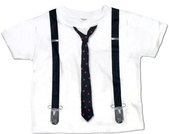Boys Tie Shirt with Suspenders, Hipster Baby Shirt, Toddler Tie Shirt