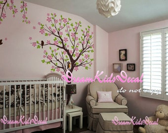Cherry Blossom Tree wall decals nursery wall decals children girl baby wall decals wall sticker wall decor with woodpecker-DK136