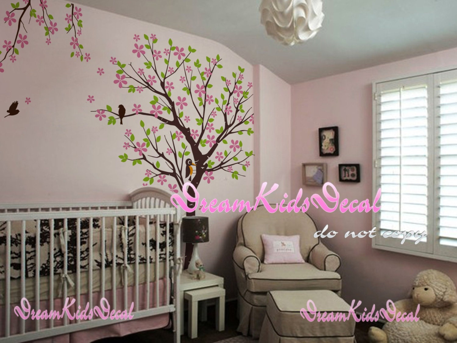 Cherry blossom tree wall decals nursery wall decals children for Baby nursery tree mural