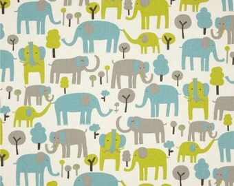 Elephant Fabric by the YARD blue green brown natural upholstery Home Decor Trunk Tales macon mantis Premier Prints curtain pillow SHIPS FAST