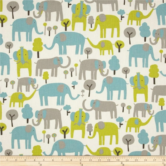 Elephant Fabric By The Yard Blue Green Brown Natural Upholstery Home Decor Trunk Tales Macon