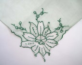 Vintage Handkerchief, Enclose Inside Card, 1950s 3-D Green Appliqué Flowers, Pale Green Hanky
