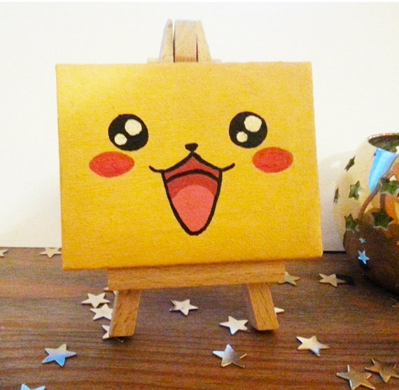 Pikachu face mini canvas for Things to do with mini canvases