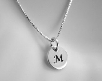 Custom Initial Necklace, Sterling Silver Initial Necklace
