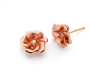 14K Two Tone Diamond Rose Earrings, Diamond Rose Earrings, Rose Jewelry, Diamond Jewelry, Floral Jewelry, Flower Jewelry, Fancy Jewelry