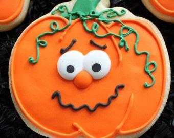 Decorated Pumpkin Cookies, Halloween pumpkins, Halloween cookie favors, custom cookies, pumpkin faces