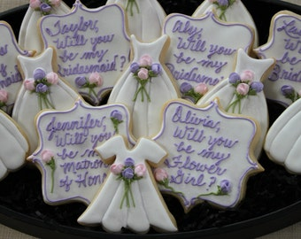 Will You Be My Bridesmaid Cookies, Wedding Cookies, Wedding Favors, Bridal Luncheon, Custom Cookies, Lingerie Shower Wedding Dress