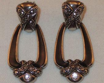 Vintage Avon Silvertone Dangle Post Earrings w/ Rhinestones & Black Enamel