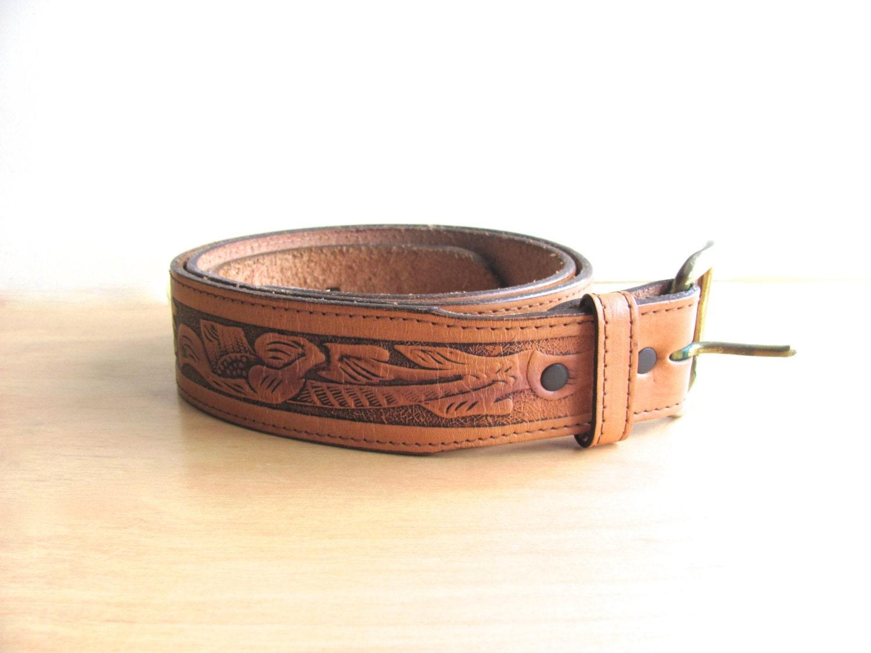 vintage leather tooled belt mens leather belt tooled leather