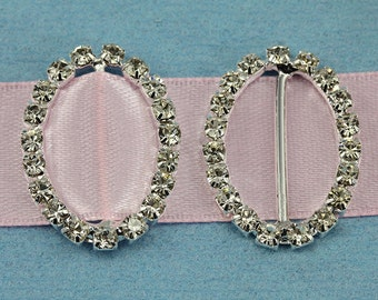 20x28mm Oval Crystal Rhinestone Ribbon Buckles For Card Making And DIY Wedding Invitations - 10 Pieces