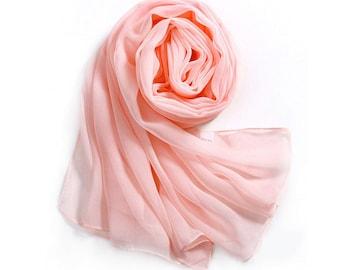 Orange Pink Chiffon Scarf - Peach Puff Chiffon Scarf - PS67