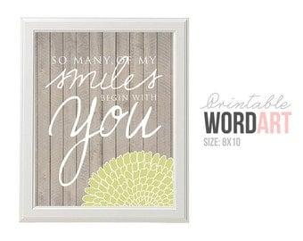 Smiles Printable Word Art - Love - Digital Smiles Begin with You Art - Printable Print Art - Wood Rustic - Wall Art - INSTANT DOWNLOAD