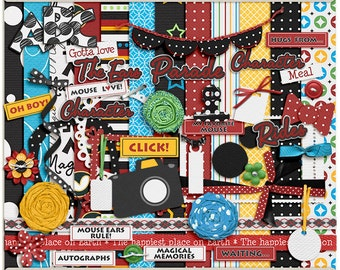 Digital Scrapbooking Page Kit for Disney, vacation, Mickey - My Favorite Mouse Digital Kit - INSTANT DOWNLOAD