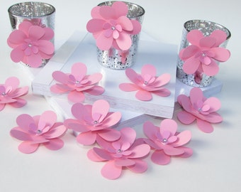 Baby Pink Paper flowers/ wedding and party flowers/ size 2.25 inch