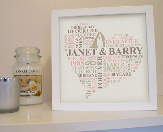 What Is The 30th Wedding Anniversary Gift: Framed 30th Anniversary Print. 30 Years Married. Pearl