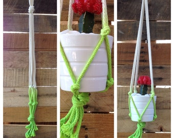 NEON Cotton Rope Plant Hanger - Neon Green Dip Dyed