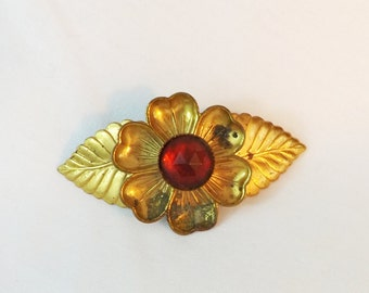 Vintage brooch gold tone flower and leaves with red stone pre WWII 1920s 1930s