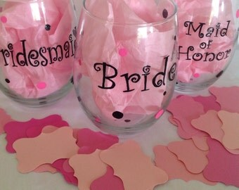 Bridal Party Glasses / Bachelorette Wine Glasses / Hand Painted Glasses / Gifts for Bridesmaids