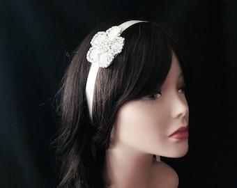 Flower Girl Headband- Rhinestone Bridal Headband- Bridal Headpiece- Rhinestone Bridal Headband