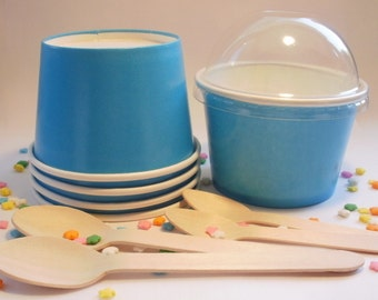 50 Blue Ice Cream Cups - Medium 12 oz