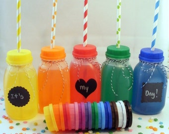 12 Milk Bottles and Lids with Straw Holes, including labels perfect for parties