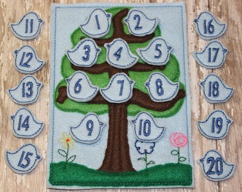 Bird Counting game embroidered, montessori, home school, homeschool, math game, counting game, children, toy, learning, educational, numbers
