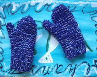 Blue variegated mittens (small size)
