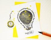 Carte Voyage, montgolfière jaune, citation Zola
