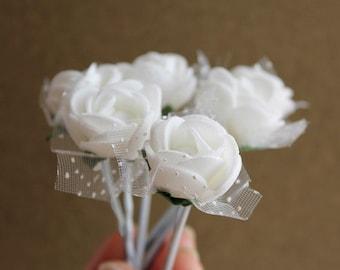 White Rose Bobby Pins, Bridal Hair Pins, Small Hair Clips, Wedding Bobby Pins, Rose Hair Pins, White Bridal Clips, Bridesmaid Hair Pins