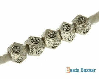 Karen Hill Tribe silver Faceted Printed Cube Spacer, 3.5mm
