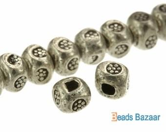 Karen Hill Tribe silver Bullet Printed Cube Spacer, 3.3mm