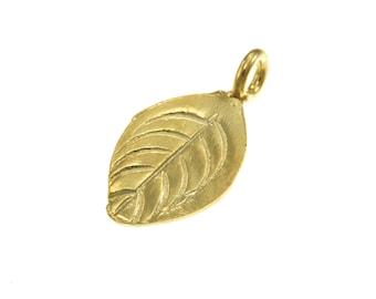 Karen Hill Tribe silver Gold vermeil Round Leaf Charm, 18 mm ( 6 pieces )