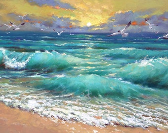 Caribbean sea - Original Palette Knife Painting by Dmitry Spiros. Ready to Hang. 32 x 24 in.