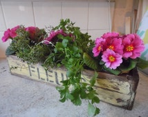 Wooden Window Box for flower planters containers window ledge pale primrose yellow vintage french style pine lovely gift for mum gardener