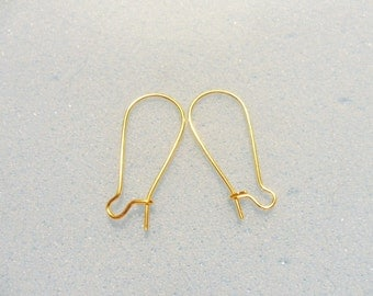 10 pairs kidney earring wires - gold plated - 24mm x 12mm - kidney ear wires - gold plated earring wire