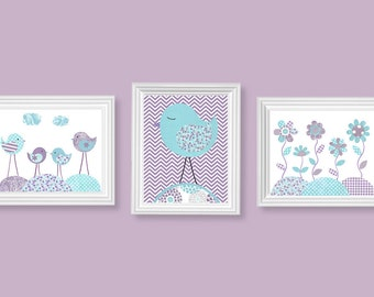 Bird Nursery Art, Bird Art Prints, Baby Girl Bird Decor, Flower Nursery Print, Baby Girl's Room Decor, Baby Girl Wall Art, Art for Children,