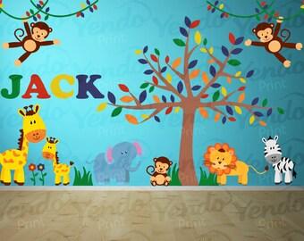 Wall Decal - Jungle Decal - Jungle Wall Decal Personalized - Jungle Animal Decals - Safari Decal Set