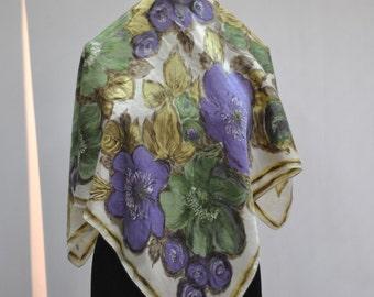 Vintage FLOWER STAMP silk scarf.....