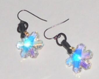 Swarovski Crystal Snowflake Earrings with Gunmetal